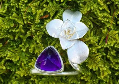 ring+single+silver+succulent+amethyst+trillium